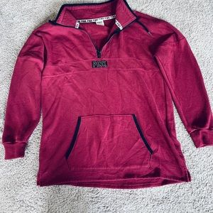 Maroon PINK fleece quarter zip sweatshirt jacket M